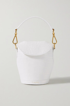 S.JOON Milk Pail Mini Croc-effect Leather Tote - White