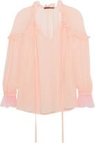 Roberto Cavalli Ruffled Silk-georgette Top - Pastel pink