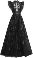 ZUHAIR MURAD Matsuri Embellished Flocked Tulle Gown