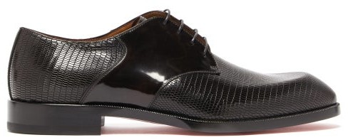info pour b3ee2 1402f A Mon Homme Embossed Leather Derby Shoes - Mens - Brown