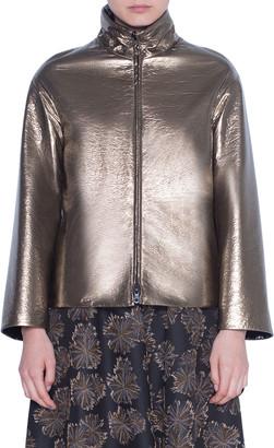 Akris Punto Metallic Reversible Zip-Front Jacket