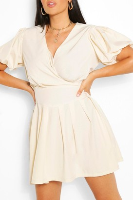 boohoo Plus Ruched Ruffle Skater Dress