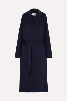 By Malene Birger Vitala Belted Wool-blend Coat - Navy