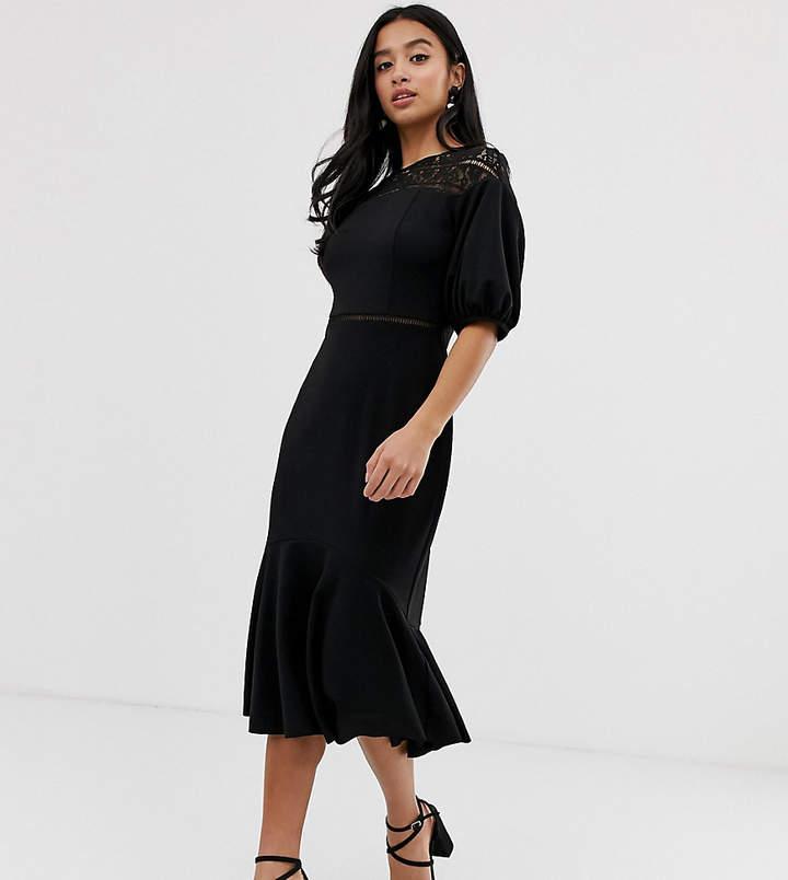 DESIGN Petite exclusive lace mix midi pencil dress with pep hem