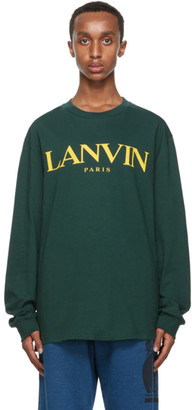 Lanvin Green Printed Logo Long Sleeve T-Shirt