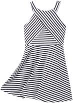 Zunie Sleeveless Stripe V-Yoke Front Dress (Big Girls)