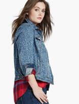 Lucky Brand Plus Size Denim Jacket In Indigo Leopard Print