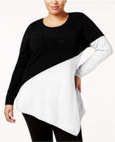 Belldini Plus Size Asymmetrical Colorblocked Sweater