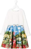 MonnaLisa landscape print dress