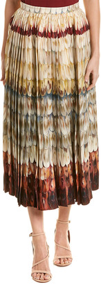 Valentino Pleated Wool & Silk-Blend Midi Skirt