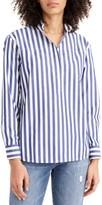 J.Crew J. Crew Bold Stripe Band Collar Popover Tunic Shirt