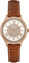 GUESS Women's Brown Leather Strap Watch 37mm U0840L2