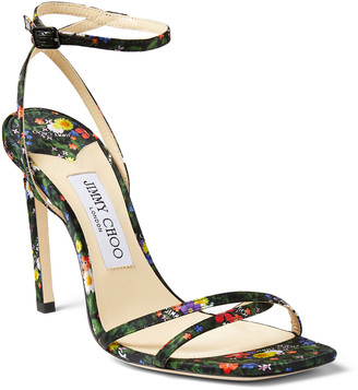Jimmy Choo 100mm Floral Ankle-Strap Sandals