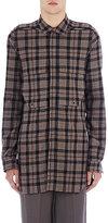 Rick Owens Men's Plaid Flannel Safari Shirt-BEIGE, GREY, NO COLOR