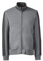 Lands' End Men's Big Long Sleeve French Terry Track Jacket-Pewter Heather