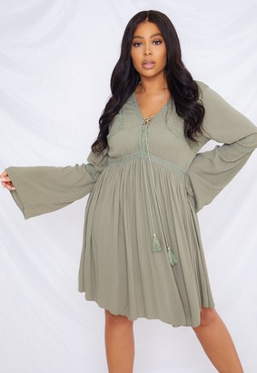 Missguided Plus Size Khaki Crochet Kimono Sleeve Dress
