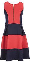 Soprano Big Girls 7-16 Color Block Scuba Zip Front Dress