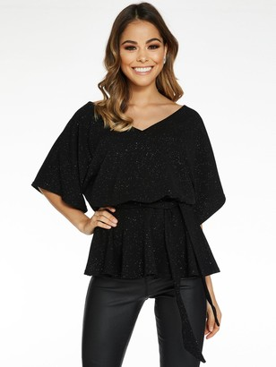 Quiz Scuba Crepe Glitter Double V-Neck Peplum Top - Black