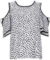 Wallis Monochrome Polka Dot Cold Shoulder Frill Top