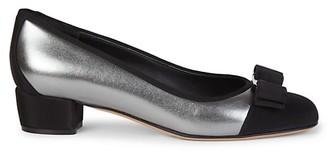 Salvatore Ferragamo Vara Cap-Toe Metallic Leather Pumps