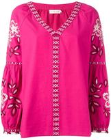 Tory Burch embroidered tunic - women - Cotton/Viscose - 4