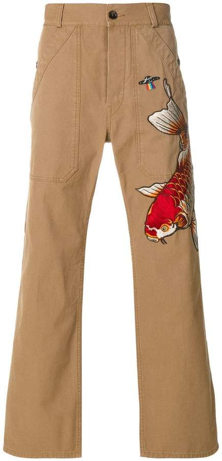 Gucci fish appliqué cropped trousers