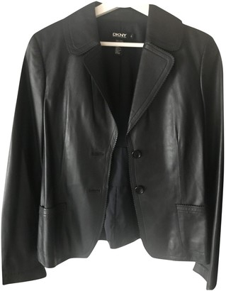 DKNY Black Leather Jacket for Women