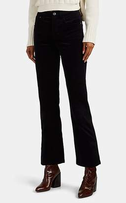 Current/Elliott Women's Vanessa Cotton Velvet Crop Flared Pants - Navy