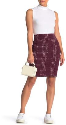 14th & Union Windowpane Stretch Ponte Pencil Skirt (Petite)