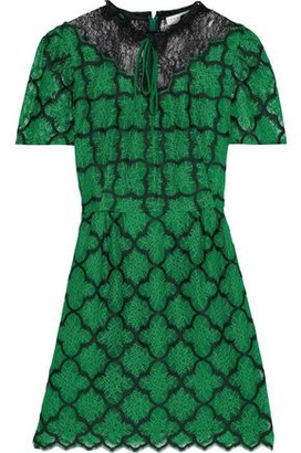 Sandro Donia Paneled Embroidered Chantilly Lace Mini Dress