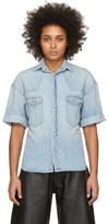 R 13 Blue Denim Oversized Cowboy Short Sleeve Shirt