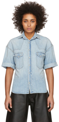 R 13 Blue Denim Oversized Cowboy Short Sleeve Shirt