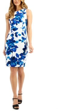 Calvin Klein Petite Floral-Print Sheath Dress