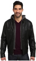 Calvin Klein Faux Leather Bomber Jacket w/ Knit Hood CM499139