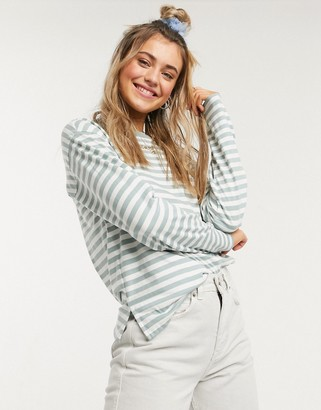 Monki striped long sleeve top in green