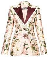 Dolce & Gabbana Single-breasted Floral-print Shantung Blazer - Womens - Pink Multi