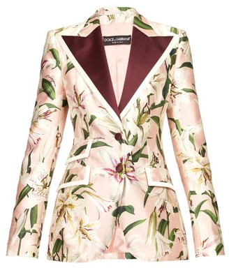 Dolce & Gabbana Single-breasted Floral-print Shantung Blazer - Womens - Pink Multi