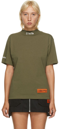 Heron Preston Green Style Mock Neck T-Shirt