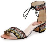 Rene Caovilla Geometric Crystal Ankle-Cuff Sandal, Black Pattern