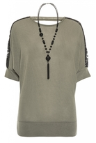 Quiz Khaki Lace Shoulder Detail Light Knit Necklace Top