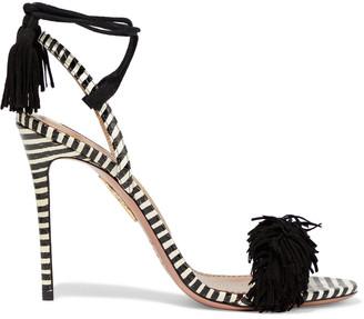 Aquazzura Wild Thing 105 Fringed Suede And Striped Elaphe Sandals