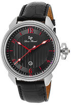 Lucien Piccard 40053-01-RDA Men's Trevi Black Genuine Leather and Dial Red