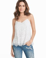 White House Black Market Eyelet White Cotton Cami