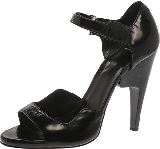 Pierre Hardy Black Leather Velcro Ankle Strap Sandals Size 40
