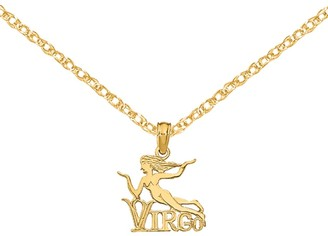 14K Yellow Gold Engraved Block Virgo Charm with 18-inch Cable Rope Chain by Versil