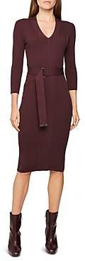 Reiss Alicia Belted Knit Bodycon Dress