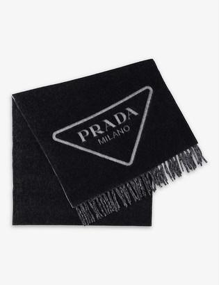 Prada Logo-intarsia cashmere scarf