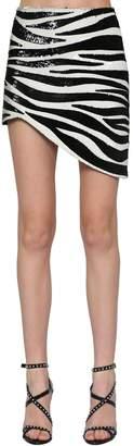 Saint Laurent Zebra Sequined Asymmetric Skirt