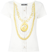 Moschino peace necklace print top - women - Cotton - 40