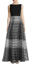 Erin Fetherston Sleeveless Striped Full-Skirt Gown